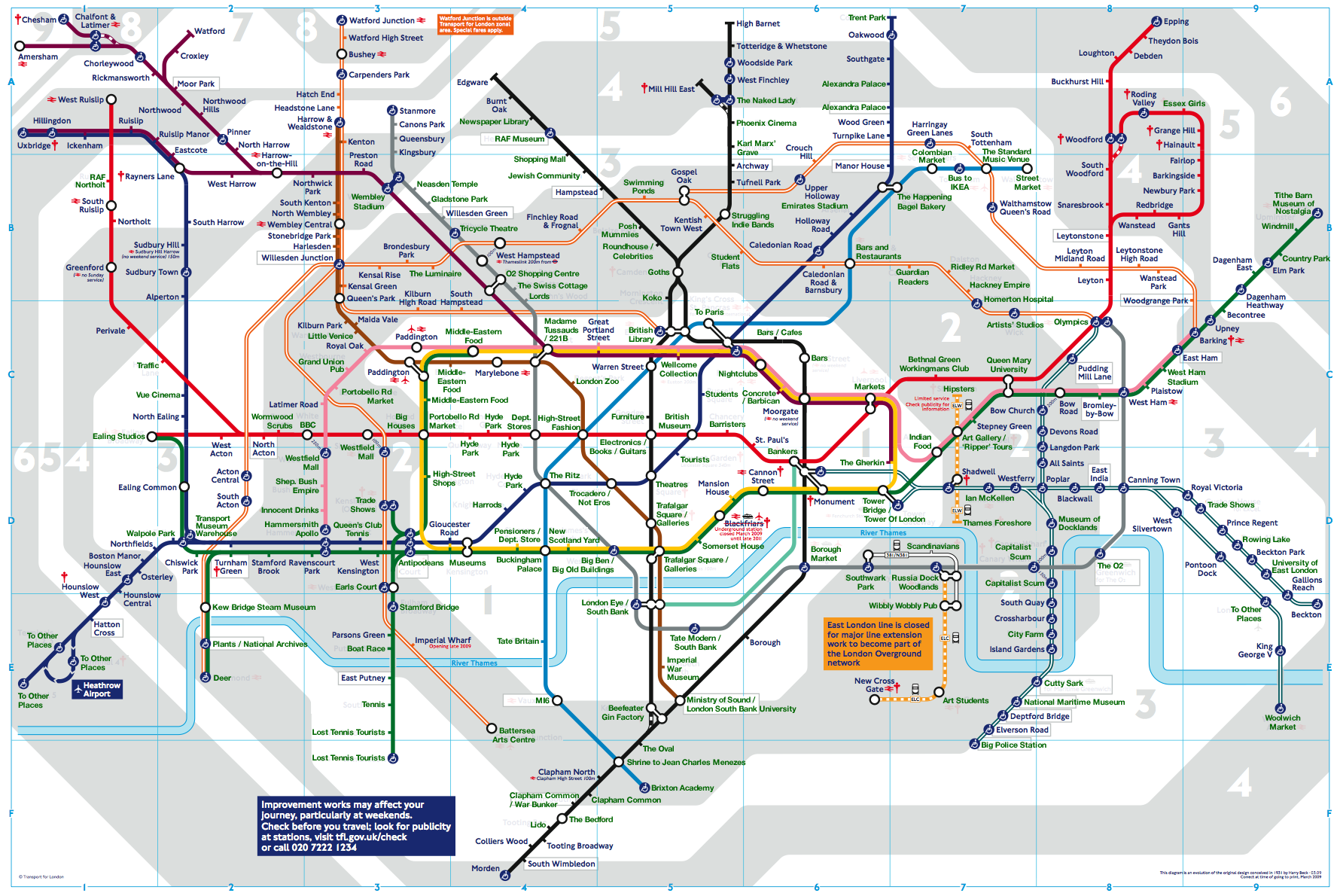 London Points Of Interest Map.London Tube Map Renaming Stations With Points Of Interest Dan