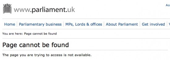 Parliament.gov page not found