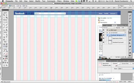 Facebook App 760px/12-Col Design Grid (Fireworks/PNG)