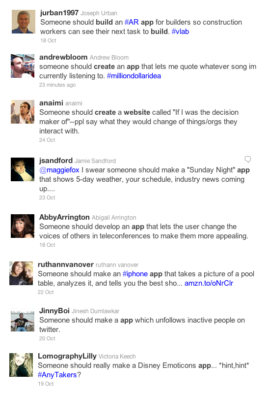 Researching web app ideas on Twitter